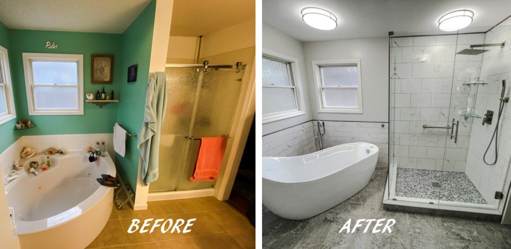 Luallen Master Bathroom before and after